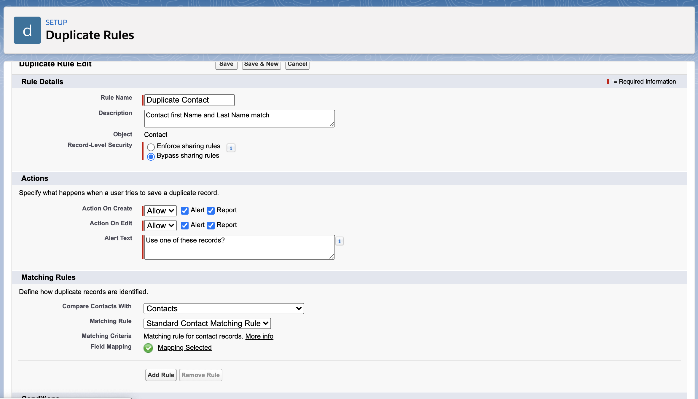 Salesforce Duplicate and Matching Rules