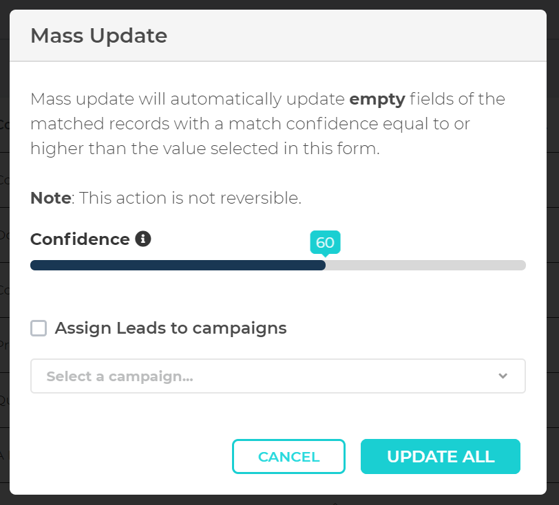 Mass Update matched records