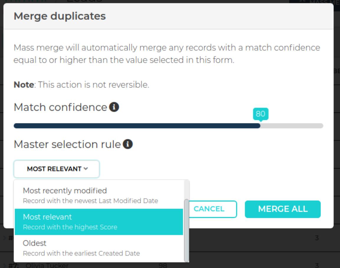 Merge Duplicates Master Record Rule